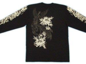 画像3: 鳳凰 刺青 デザイン 菊 和柄 長袖Tシャツ ブランド紅雀 (名入れ刺繍可) 和彫り 通販 和柄服
