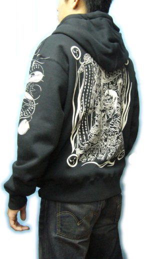 画像5: 酒呑童子 和柄 パーカー スエット刺青デザインの紅雀(名入れ刺繍可)通販 派手 パーカー 和柄服