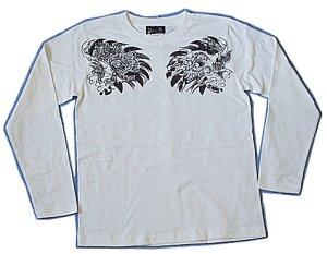 画像1: バロン 和柄 長袖Tシャツ 刺青デザインの紅雀(名入れ刺繍可)通販