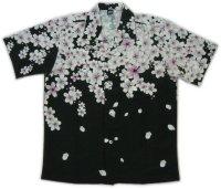 和柄 アロハ 桜 吹雪 チリメン風 大きいサイズ 桜イラスト 生地