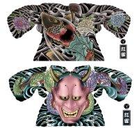 刺青和彫りマイクロファイバーケット抱き鯉金太郎、般若 通販