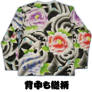 画像2: メンズ 和柄 長袖Tシャツ 刺青プリント総柄みきり花柄ポリエステルドライT 和柄服