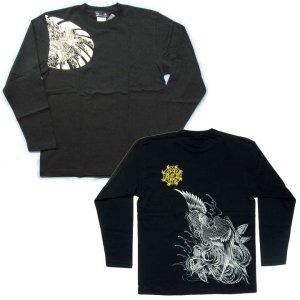 画像4: 鳳凰 刺青 胸割右 背中鳳凰 紅雀ブランド 通販 名入れ刺繍可 (和彫り)  和柄 長袖tシャツ ロンT 和柄服
