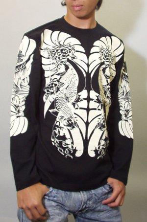 画像2: 鯉 和柄 長袖Tシャツ 刺青デザインの紅雀(名入れ刺繍可)通販