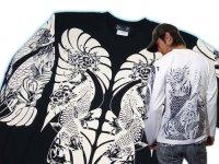 鯉 和柄 長袖Tシャツ 刺青デザインの紅雀(名入れ刺繍可)通販