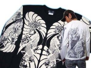 画像1: 鯉 和柄 長袖Tシャツ 刺青デザインの紅雀(名入れ刺繍可)通販
