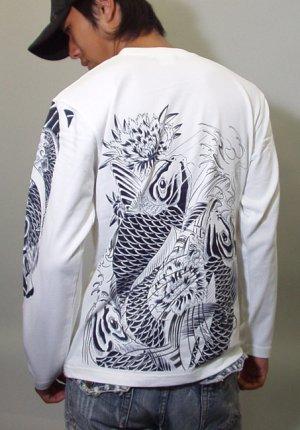 画像5: 鯉 和柄 長袖Tシャツ 刺青デザインの紅雀(名入れ刺繍可)通販