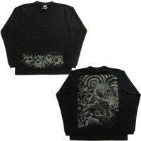 和柄ロンT 唐獅子牡丹 (和柄長袖Tシャツ袖口リブ) 和柄服