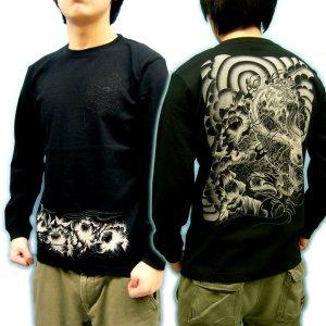 画像1: 唐獅子牡丹 和柄 長袖Tシャツ 刺青デザインの紅雀(名入れ刺繍可)通販 和柄服