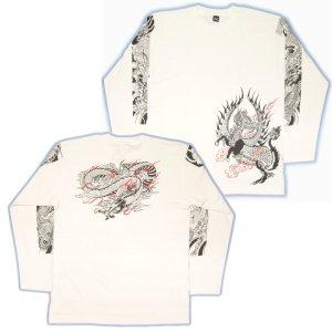 画像5: 麒麟 雲龍 長袖Tシャツ 和柄 ブランド紅雀 ネーム刺繍可 刺青Tシャツ 和彫 デザイン 通販 ロンT 和柄服