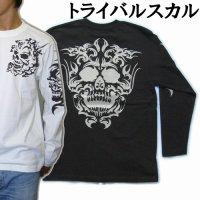 スカルトライバル 和柄 長袖Tシャツ 刺青デザインの紅雀(名入れ刺繍可)通販