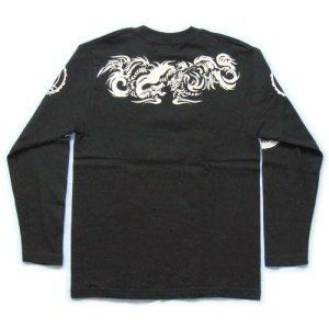 画像3: 龍トライバル 和柄 長袖Tシャツ 刺青デザインの紅雀(名入れ刺繍可)通販