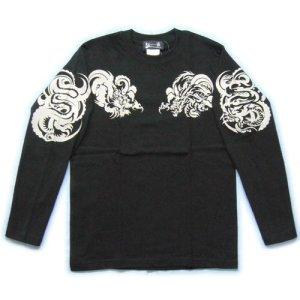画像2: 龍トライバル 和柄 長袖Tシャツ 刺青デザインの紅雀(名入れ刺繍可)通販