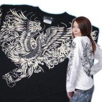 鳳凰 刺青 デザイン 菊 和柄 長袖Tシャツ ブランド紅雀 (名入れ刺繍可) 和彫り 通販 和柄服