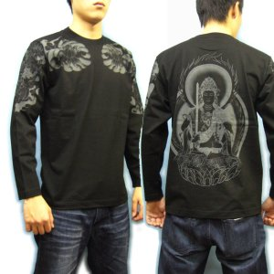 画像2: 虚空蔵菩薩 刺青風 仏像画 和柄長袖Tシャツ 「紅雀」 通販 名入れ刺繍可 胸割和彫り 蓮デザイン 和柄服