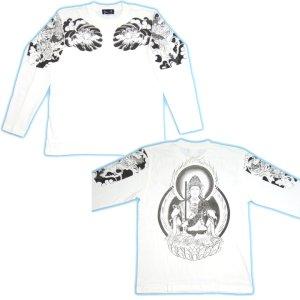 画像5: 虚空蔵菩薩 刺青風 仏像画 和柄長袖Tシャツ 「紅雀」 通販 名入れ刺繍可 胸割和彫り 蓮デザイン 和柄服