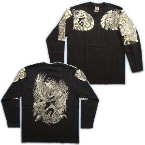 画像4: 鳳凰 刺青 長袖Tシャツ 酉 梵字 の胸割 和柄 Tシャツ (紅雀) 和彫りデザイン 通販 名入れ刺繍可 和柄服