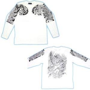 画像5: 鳳凰 刺青 長袖Tシャツ 酉 梵字 の胸割 和柄 Tシャツ (紅雀) 和彫りデザイン 通販 名入れ刺繍可 和柄服