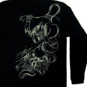 画像4: 和柄ロンT 風神雷神 (和柄長袖Tシャツ袖口リブ) 和柄服