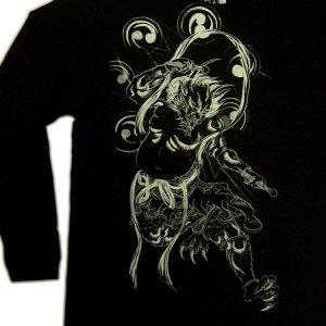 画像3: 和柄ロンT 風神雷神 (和柄長袖Tシャツ袖口リブ) 和柄服