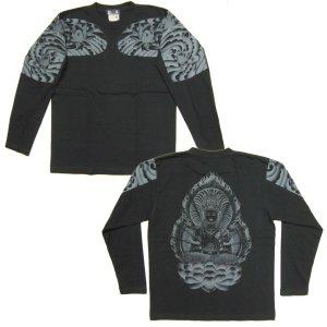 画像4: 大日如来 刺青 蓮の胸割 和柄長袖Tシャツ 紅雀ブランドの仏画 (通販 名入れ刺繍可) 和柄服