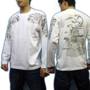 画像3: 不動明王 鳳凰 刺青 の仏像画 和柄 長袖Tシャツ 紅雀の通販 名入れ刺繍可 (五大明王) 和柄服