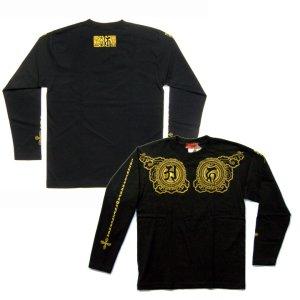 画像2: 阿吽光明 梵字 胸割 長袖Tシャツ /刺青 デザイン 梵字タトゥー Tシャツの袖にデザイン /名入れ刺繍可/通販 和柄服