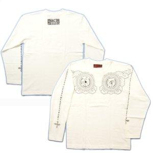 画像3: 阿吽光明 梵字 胸割 長袖Tシャツ /刺青 デザイン 梵字タトゥー Tシャツの袖にデザイン /名入れ刺繍可/通販 和柄服