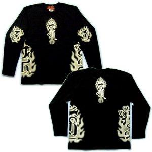 画像2: 不動三尊 梵字 長袖Tシャツ 刺青 デザイン Tシャツの袖にデザイン 通販 梵字タトゥー (名入れ刺繍可) 和柄服