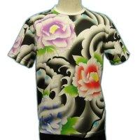 ドライ Tシャツ 和柄 みきりフルカラー総柄プリント/メンズ和柄 Tシャツ/半袖牡丹のタトゥーTシャツ(通販) 刺青 和彫り デザイン 和柄服