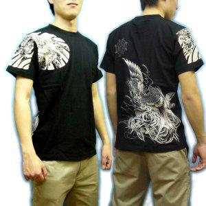 画像2: 鳳凰 刺青 胸割右 背中鳳凰 紅雀ブランド 通販 名入れ刺繍可 (和彫り)  和柄 tシャツ 和柄服
