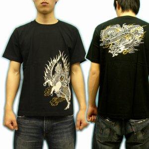 画像2: 紅雀 和柄 【麒麟 雲龍】 聖獣 Tシャツ (名入れ刺繍可)通販 刺青 和彫り デザイン 和柄服