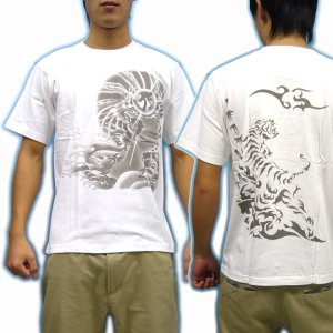 画像3: 虎 と宝玉に(寅) 梵字 タラーク 和柄 Tシャツ 紅雀 通販 (名入れ刺繍可) 刺青 みきり和彫り デザイン 和柄服