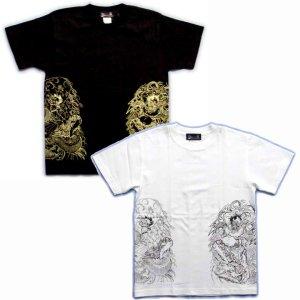 画像4: 風神雷神騎龍 和柄 Tシャツ 紅雀 通販 名入れ刺繍可 刺青 和彫り デザイン