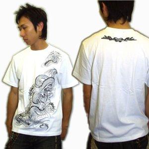画像3: 龍と蓮の和柄Tシャツ通販