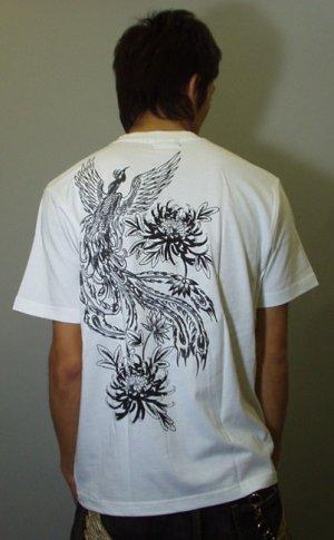画像5: 紅雀 和柄 【鳳凰 と菊】 聖獣 Tシャツ 刺青 和彫り デザイン