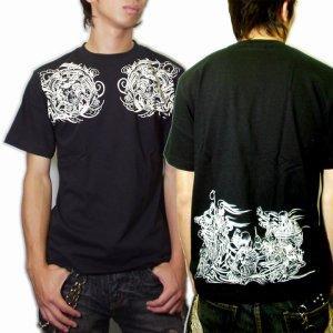 画像2: 輪入道胸割と腰に宴髑髏 和柄 Tシャツ 紅雀 通販 名入れ刺繍可 刺青 和彫り デザイン 和柄服