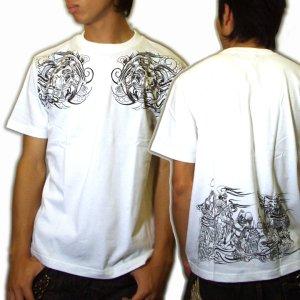 画像3: 輪入道胸割と腰に宴髑髏 和柄 Tシャツ 紅雀 通販 名入れ刺繍可 刺青 和彫り デザイン 和柄服