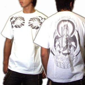画像5: 虚空蔵菩薩 刺青風 仏像画 和柄Tシャツ 「紅雀」 通販 名入れ刺繍可 胸割和彫り 蓮デザイン 和柄服
