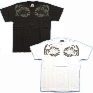 画像2: 虚空蔵菩薩 刺青風 仏像画 和柄Tシャツ 「紅雀」 通販 名入れ刺繍可 胸割和彫り 蓮デザイン 和柄服