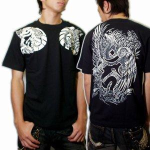 画像4: 鳳凰 刺青Tシャツ 酉 梵字 の胸割 和柄 Tシャツ (紅雀) 和彫りデザイン 通販 名入れ刺繍可 和柄服