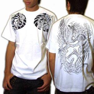 画像5: 鳳凰 刺青Tシャツ 酉 梵字 の胸割 和柄 Tシャツ (紅雀) 和彫りデザイン 通販 名入れ刺繍可 和柄服