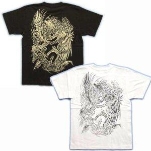 画像3: 鳳凰 刺青Tシャツ 酉 梵字 の胸割 和柄 Tシャツ (紅雀) 和彫りデザイン 通販 名入れ刺繍可 和柄服