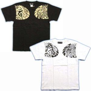 画像2: 鳳凰 刺青Tシャツ 酉 梵字 の胸割 和柄 Tシャツ (紅雀) 和彫りデザイン 通販 名入れ刺繍可 和柄服