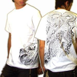 画像5: 鯉の瀧登り 登龍門 和柄 tシャツ 刺青 和彫り デザイン [紅雀] (通販 名入れ刺繍可) 和柄服