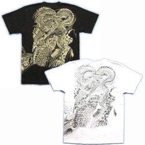 画像3: 鯉の瀧登り 登龍門 和柄 tシャツ 刺青 和彫り デザイン [紅雀] (通販 名入れ刺繍可) 和柄服