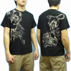 画像5: 風神雷神筋彫風和柄Tシャツ通販