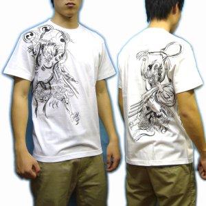 画像4: 風神雷神筋彫風和柄Tシャツ通販