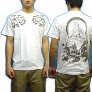 画像5: 文殊菩薩 獅子 の仏像画 和柄 Tシャツ [紅雀 通販] 名入れ刺繍対応 刺青 和彫り 胸割 和柄服