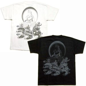 画像3: 文殊菩薩 獅子 の仏像画 和柄 Tシャツ [紅雀 通販] 名入れ刺繍対応 刺青 和彫り 胸割 和柄服